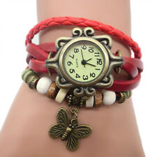 Women Brown Retro Weave Wrap Butterfly Dangle Bracelet Bangle Quartz Wrist Watch
