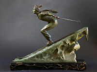 LADY SKIER AT ZERMATT 1925 BY FOCHT RARE LARGE SIZE BRONZE WITH MARBLE BASE