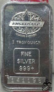 Engelhard 1oz (.999) Fine Silver Bar, Portrait Variety Maple Leaf Logo & Package