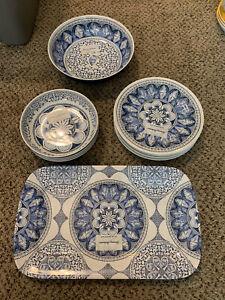 TOMMY BAHAMA Melamine Dinner Bowls Plates Serving Bowl & Tray SEA SHELLS Beach