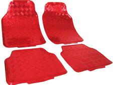 Auto Gummi Fußmatten universal Alu Riffelblech Optik chrom rot