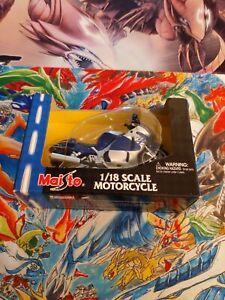 2001 maisto 1:18 scale motorcycle suzuki GSX 1300R blue/silver new in box