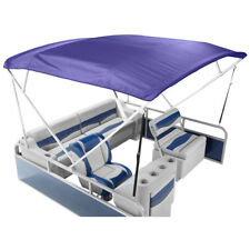 "NEW NAVY BLUE SQUARE TUBE 4 BOW PONTOON/DECK BOAT BIMINI TOP 8', 88""-102"" WIDE"
