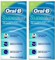 2 Pack Oral-B Super Floss Dental Pre-Cut Strands Mint Braces,Bridges,wide spaces