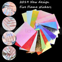 16Pcs Holographic Fire Flame Nail Hollow Sticker Manicure Decal Nail Art Decor