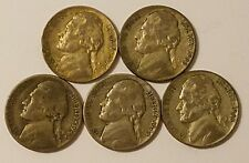 One 1943-P, two 1944-P, and two 1945-P Jefferson Nickels 35% Silver