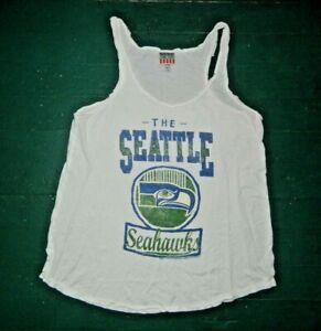 Retro Junk Food SEATTLE SEAHAWKS White NFL FOOTBALL TANK TOP Fan Shirt Women XL