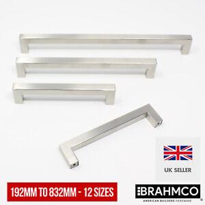 12mm Modern Square Bar Stainless Steel Kitchen Handles Door Cabinet 192mm-832mm