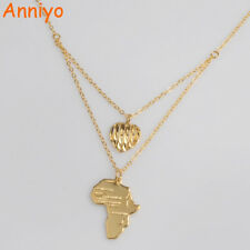"""Africa Map and Heart Pendant Necklace   Wave Style 18"""" Chain 305"""