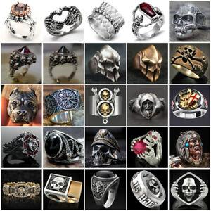 Gothic Skull Vintage Biker Men's Black Punk Stainless Steel Ring Size 6-13 Retro