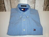 Tommy Hilfiger checked shirt blue white size L no marks or flaws VGC