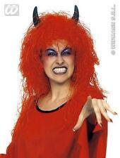 Red Devil Peluca Negro Con Cuernos Halloween Satanás Fancy Dress