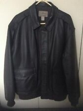 LL BEAN BLACK MEN'S LEATHER JACKET - NEW WITHOUT TAGS (FROM AROUND 2007) X LARGE