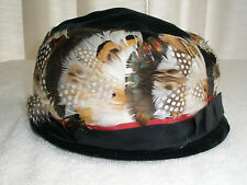 Vintage Ladies Hat Black Velveteen Colorful Feathers Made in Usa
