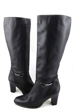HUNT CLUB Black Leather Buckle Knee High Zipper Boots 9