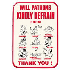 Will Patrons Kindly Refrain Metal Keepsake Tin Retro Gift Storage Licensed 50492