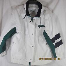 Mulberry Street Winter Jacket Medium pocket Rain Hood white green blue stripe