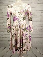 Topshop Vintage Style Blush Floral Open Neck Fit & Flare Stretch Dress Size 10