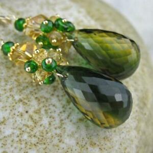 Yellow Green Ametrine Chrome Diopside Citrine Cluster Goldfill Statement Earring