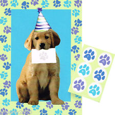 PUPPY PARTY GAME POSTER ~ Dog Birthday Supplies Decorations Activity Blue Paws