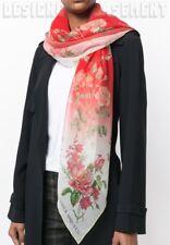 """ALEXANDER MCQUEEN ivory & red BOTANICAL GARDEN silk chiffon 54"""" scarf NWT Authen"""