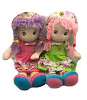 "2 Large Kids Doll Pink Yarn Hair Green Dress Hat Plush Stuffed Girl RagDoll 20"""