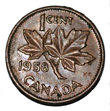 Canada 1958 1 Cent Copper One Canadian Penny Coin