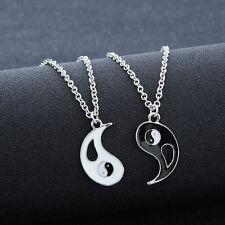Chic 1 Set 2 PCS Best Friends Ying Yang Taiji Bagua Pendant Chain Necklaces New