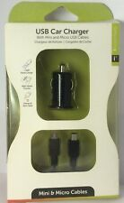 USB Car Charger W/ Mini & Micro USB Cables 3ft Cable Compact Travel Adapters