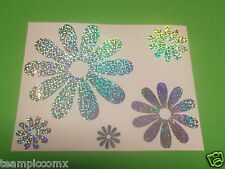 DAISY FLOWERS Silver Glitter Holographic  Vinyl Window car suv Decal Stickers