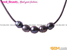 """Women Jewelry 9-10mm 5 Pearls Strand Black Rope Necklace Adjustable Size 17.5"""""""