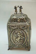 Antique Sterling Silver Tea Caddy Art Nouveau Repousse Putti Draped Lady 235g