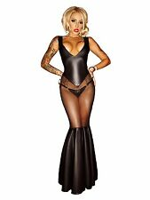 Sexy Lady PVC look Black Faux Leather Gothic Fetish lingerie Bondage Long dress