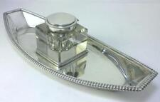 Georgian Sterling Silver  25cm  Inkstand (1806) & Victorian Inkwell (1878)