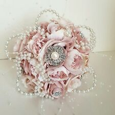 Alternative wedding bouquet,vintage,pale pink, blush,brooch,ONE ONLY hand made.
