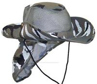 Summer Wide Brim Mesh Safari/Outback Hat W/Neck Flap #982 City Camo L
