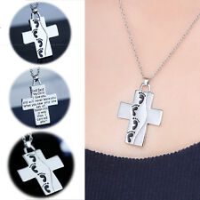 Fashion Cute Silver Baby Footprints Prayer Cross Pendant Necklace Jewellery Gift