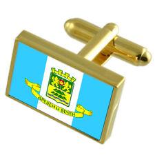 Plovdiv City Bulgaria Gold Flag Cufflinks Engraved Box