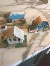 Vintage Christmas Village Church Houses Bottle Brush Trees Cardboard Figures