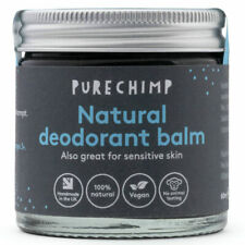 Natural Deodorant Balm 60ml by PureChimp - Recyclable Glass - Activated Charcoal