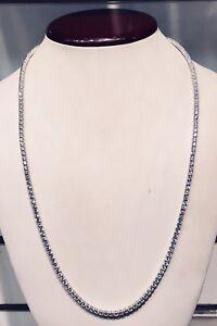 14K White Gold Over 925 - 22 Carat Round Cut VVS1/D Diamond Tennis 3mm Necklace