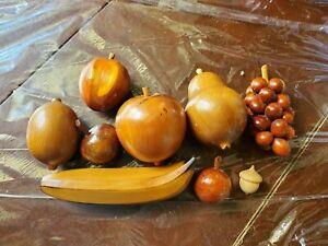 9 Pc Vintage Wooden Fruit Apple Pear Grape Banana