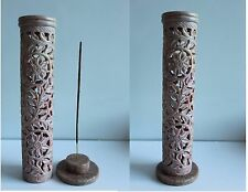 Hand Carved Soapstone bâton de l'encens brûleur tower holder ASH CATCHER T19