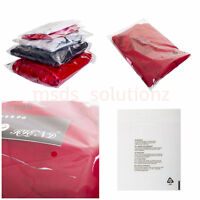 CLEAR GARMENTS BAGS CELLOPHANE PEEL&SEAL PACKAGING OPP WARNING NOTICE CELLO BAG