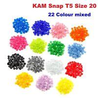 22 Colores Kam Broches T5 Tamaño 20 Cierre a Presión Botones 12mm (440pcs)