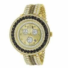 Real Diamond Gold Tone Multi Color Black & White Removable Bezel Band Men Watch