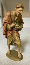 Anri 6� Wood Carving Nativity Shepherd w/ Hat Made In Italy Hand Carved Figurine