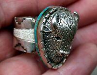 BIG Eugene Gruber Navajo Sterling Silver Turquoise BUFFALO BISON Ring Size 11.50