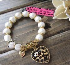 B88 BETSEY JOHNSON Stripey Hearts with Leopard Heart Pearl Beaded Bracelet US