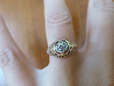 Antique vintage signed JU 10k yellow gold diamond flower ring open 4.75 filigree